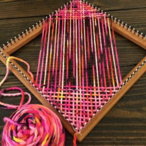 Square Loom With Weaving in Progress